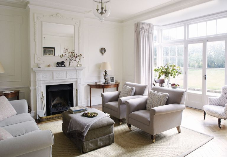 living room with grey furniture and white walls