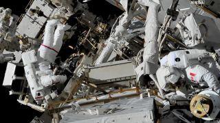 NASA astronaut Anne McClain (left) and Canadian Space Agency astronaut David Saint-Jacques (right) conducted a 6.5-hour spacewalk on April 8, 2019.