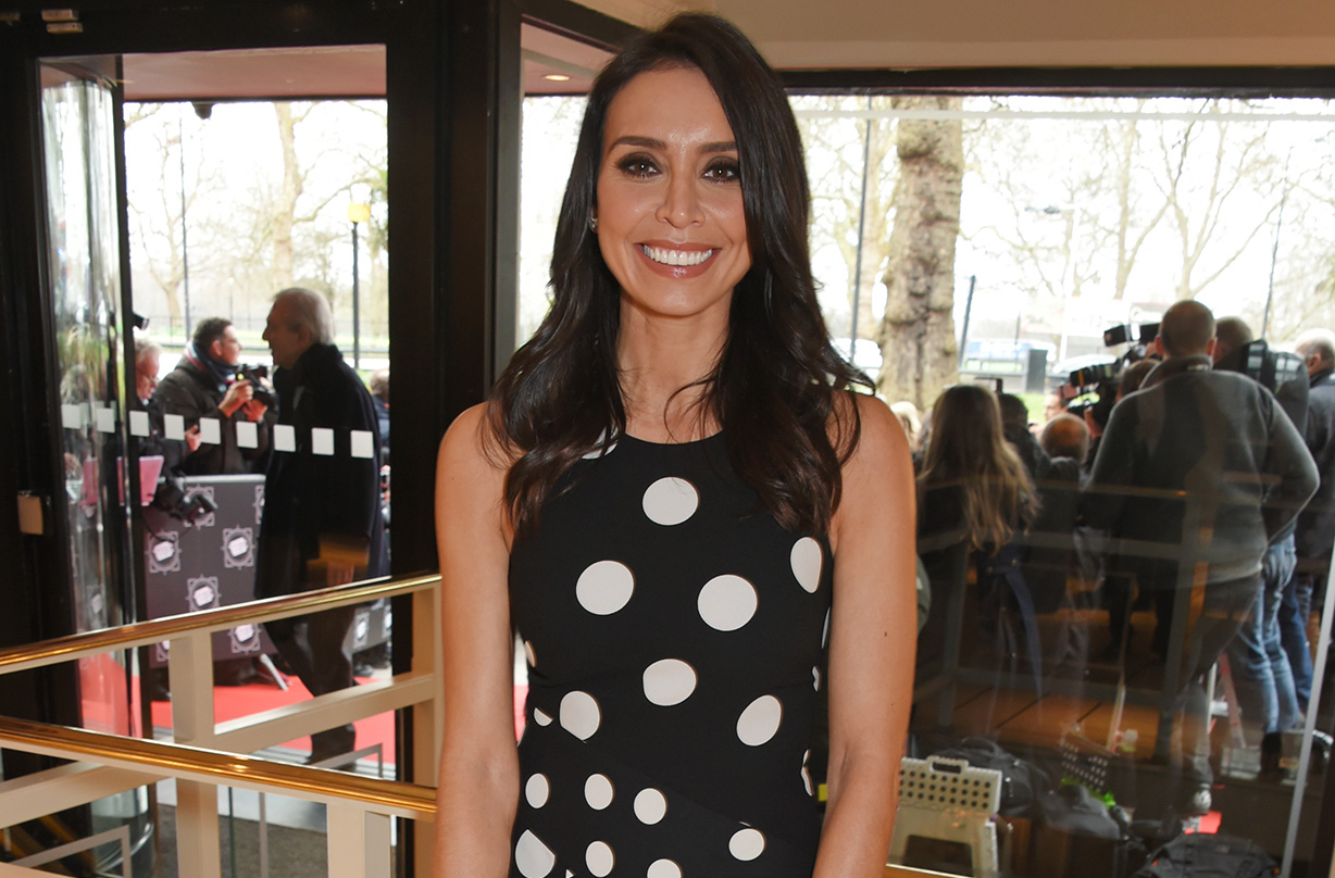 christine lampard wears marks spencer flared trousers