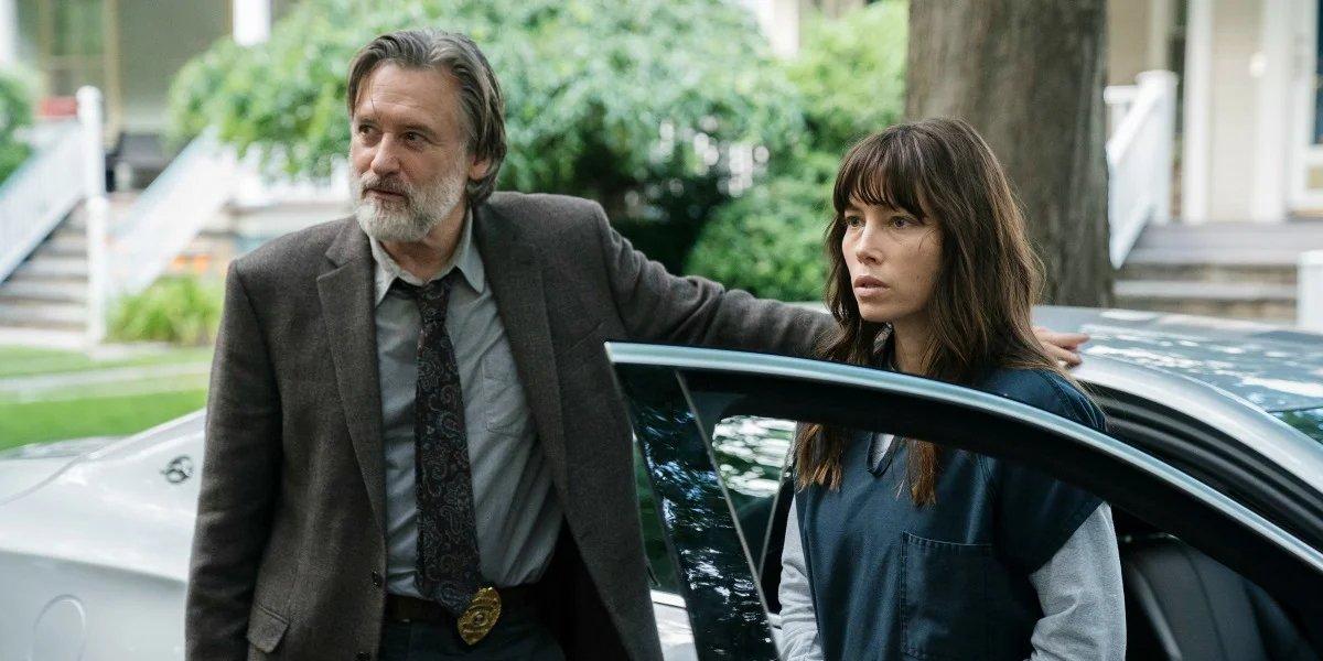 Bill Pullman and Jessica Biel on The Sinner