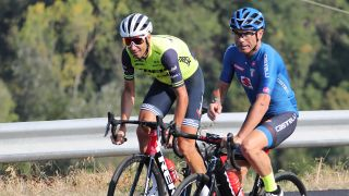 Trek-Segafredo's Vincenzo Nibali and Italian national selector Davide Cassani do a reconnaissance ride of the road race course for the 2020 UCI Road World Championships in Imola, Italy