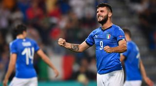 Patrick Cutrone celebrating for Italy