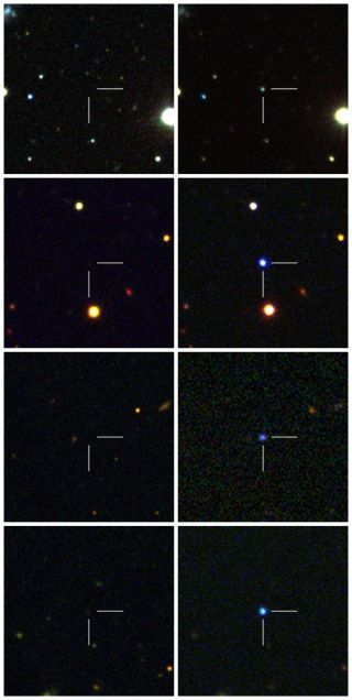 Before and after images of four hydrogen-poor superluminous supernovae discovered by the Palomar Transient Factory. In each case, the supernovae shine far brighter than all other stars combined in their host galaxies.
