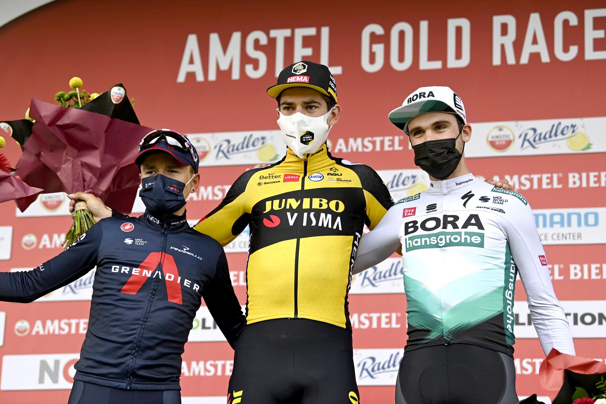 Amstel Gold Race 2021 - 55th Edition - Valkenburg - Berg en Terblijt 218,6 km - 18/04/2021 - Wout Van Aert (BEL - Jumbo - Visma) - Tom Pidcock (GBR - Ineos Grenadiers) - Maximilian Schachmann (GER - Bora - Hansgrohe) - photo Nico Vereecken/PN/BettiniPhoto©2021