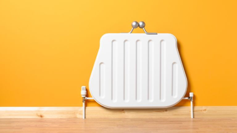 Wondering when to turn the heating on? Saving money on your energy bills, represented by a purse shaped radiator.