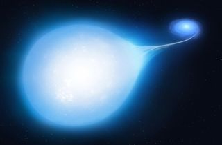 This bright star's distinct teardrop shape suggests that it is being tugged by a powerful, invisible companion