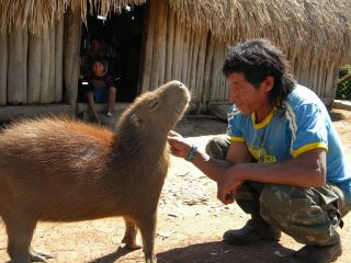 Ntôni Kisêdjê, leader of the Kisêdjê people, strokes the chin of his pet capybara.