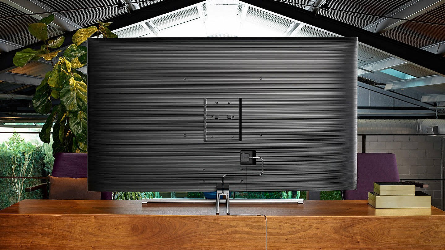 The back panel of the Samsung Q85 QLED TV