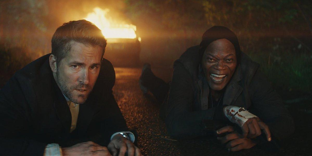 Ryan Reynolds and Samuel L. Jackson in The Hitman's Bodyguard