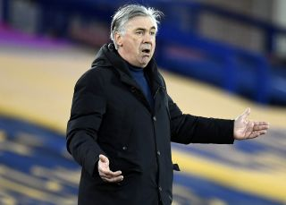 Everton manager Carlo Ancelotti during the Premier League match at Goodison Park, Liverpool. Picture date: Wednesday February 17, 2021.
