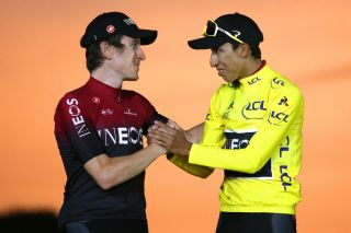 PARIS FRANCE JULY 28 Podium Geraint Thomas of United Kingdom and Team INEOS Egan Bernal of Colombia and Team INEOS Yellow Leader Jersey Celebration during the 106th Tour de France 2019 Stage 21 a 128km stage from Rambouillet to Paris Champslyses TDF TDF2019 LeTour on July 28 2019 in Paris France Photo by Chris GraythenGetty Images