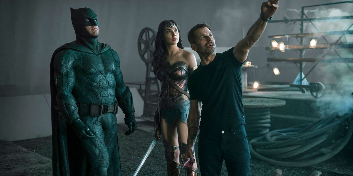 Zack Snyder directing Ben Affleck and Gal Gadot on Justice League