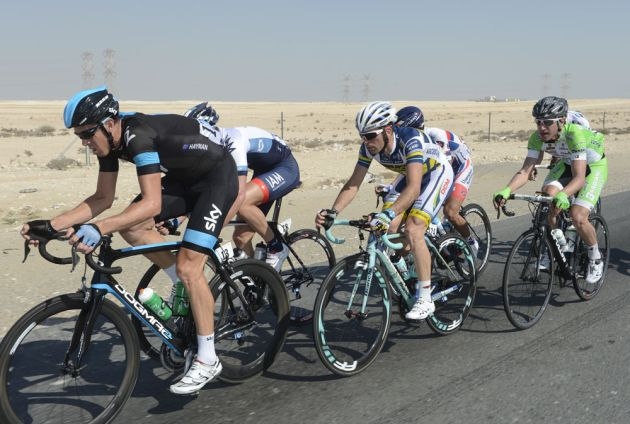 Mathew Hayman leads the escape, Tour of Qatar 2013, stage 3