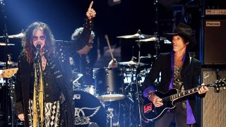Steven Tyler and Joe Perry at the 2020 Grammy Awards