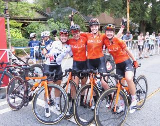 New Zealand criterium champion Olivia Ray (left) celebrates win at 2021 Grant Park Criterium with her Rally Cycling teammates