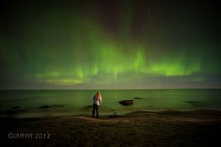Self-Portrait With Aurora, Lake Superior
