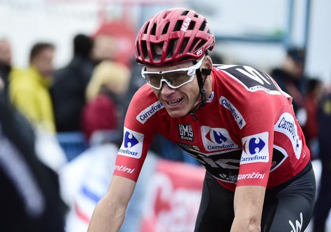 Chris Froome finishes third during stage 20 of the Vuelta
