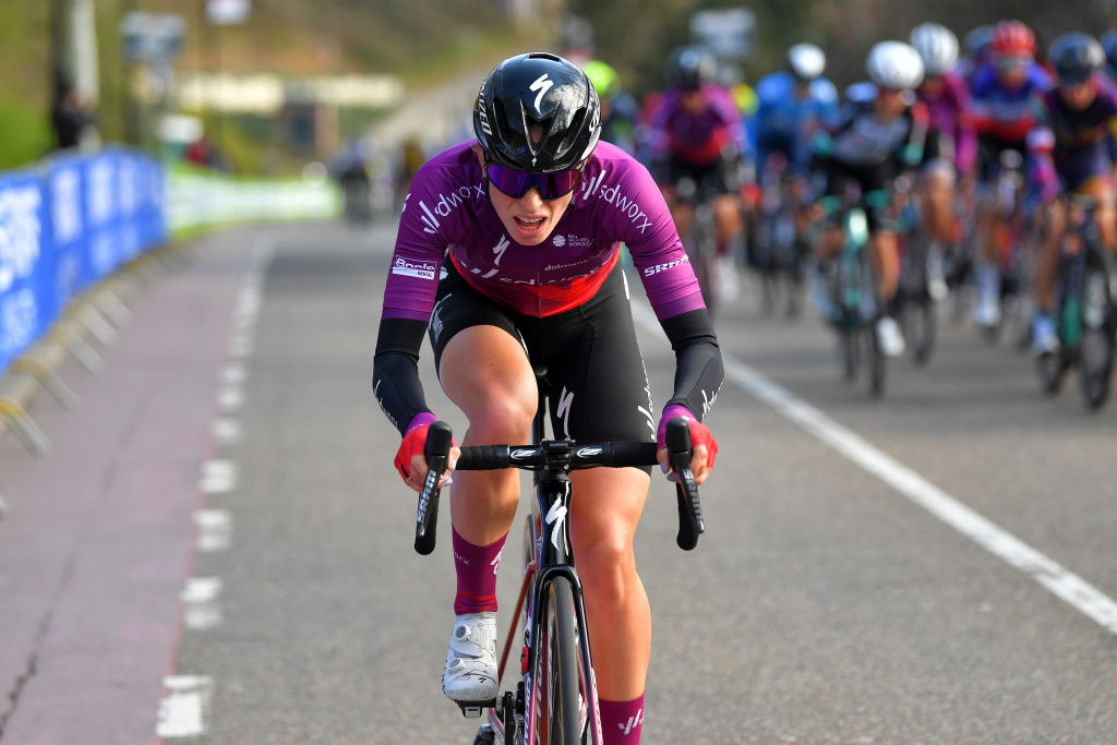 BERG NETHERLANDS APRIL 18 Demi Vollering of Netherlands and Team SD Worx during the 7th Amstel Gold Race 2021 Womens Elite a 1163km race from Valkenburg to Berg en Terblijt Attack Amstelgoldrace amstelgoldrace UCIWWT on April 18 2021 in Berg Netherlands Photo by Luc ClaessenGetty Images
