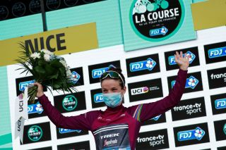 Trek-Segafredo's Lizzie Deignan celebrates victory at the 2020 La Course by Le Tour de France in Nice, France, which gave her the overall lead in the UCI Women's WorldTour