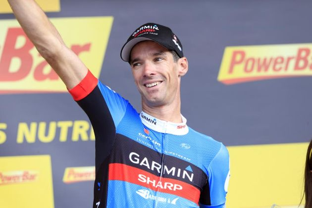 David Millar on podium after winning stage, Tour de France 2012, stage 12