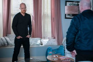 Max threatens Phil with the police in EastEnders