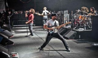 Rage Against The Machine perform on stage in Finsbury Park on June 6, 2010 in London, UK
