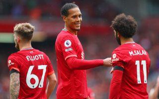 Liverpool's Harvey Elliott, Virgil van Dijk and Mohamed Salah   Liverpool v Chelsea live stream