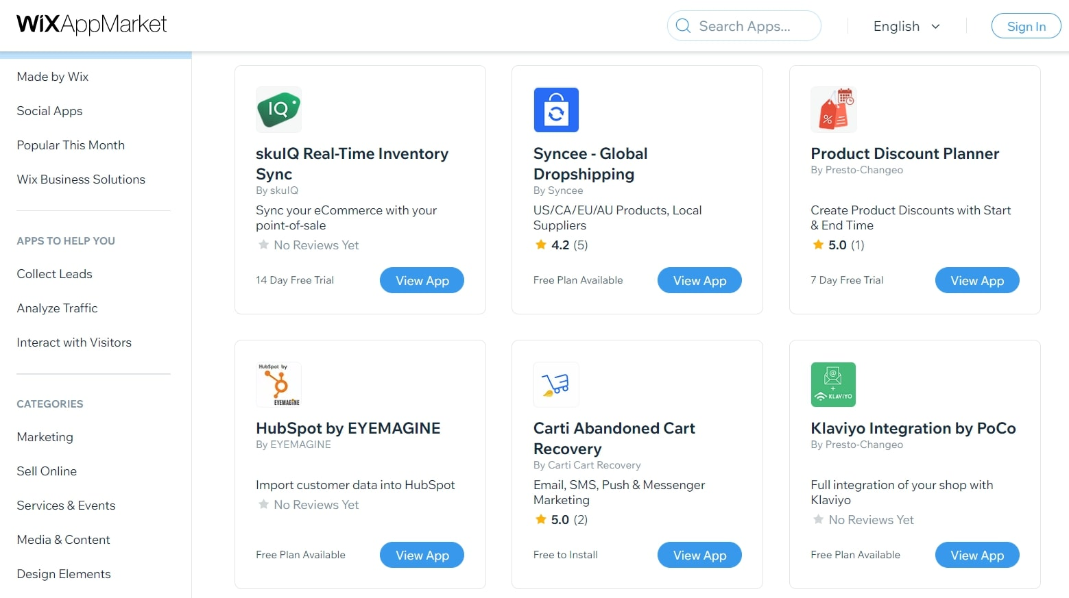 Wix's Wix App Market homepage