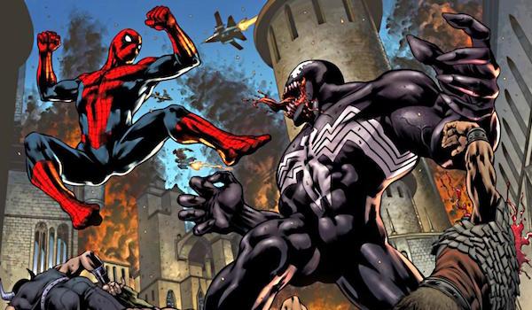 Spider-Man battling Venom