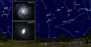 The Messier marathon is a bucket-list observing challenge for amateur astronomers. During a single night in early spring every year, it's possible for skywatchers in mid-northern latitudes to see all 110 objects in Charles Messier's list of celestial showpieces. The marathon requires some advanced planning, and mobile apps are a terrific resource for this. The first two objects to observe, the galaxies Messier 74 and 77, set soon after dusk. Their locations are shown here for 8 p.m. local time on the moonless night of March 6, 2019.