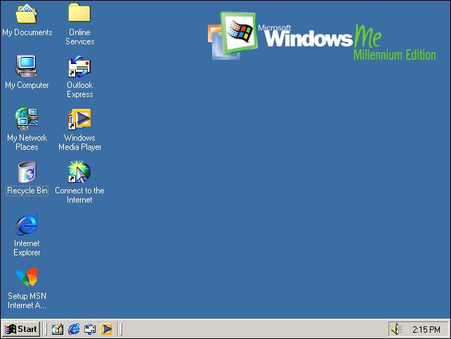 Windows ME desktop