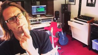 A picture of Steven Wilson in his home studio