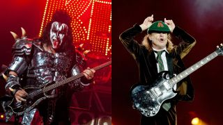Gene Simmons of Kiss and AC/DC's Angus Young