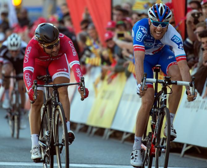 Davide Cimolai (FDJ) beats Nacer Bouhanni (Cofidis) to win stage 1 at Volta Catalunya