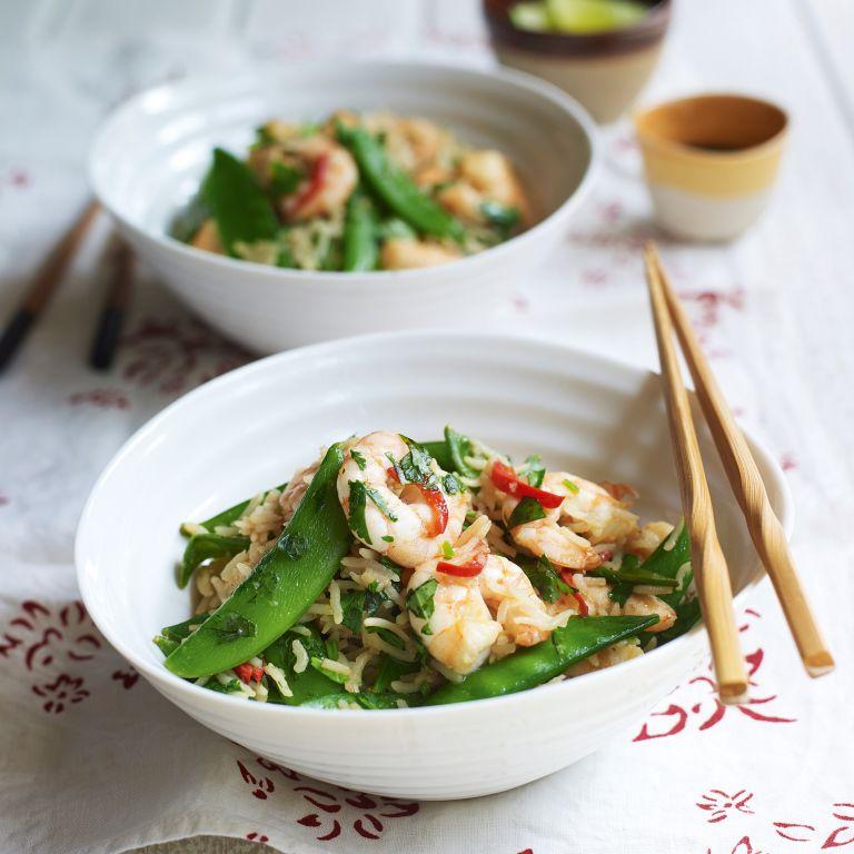 prawn and sugar-snap stir-fry with fried rice
