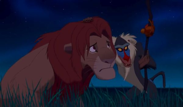 Simba and Rafiki in The Lion King
