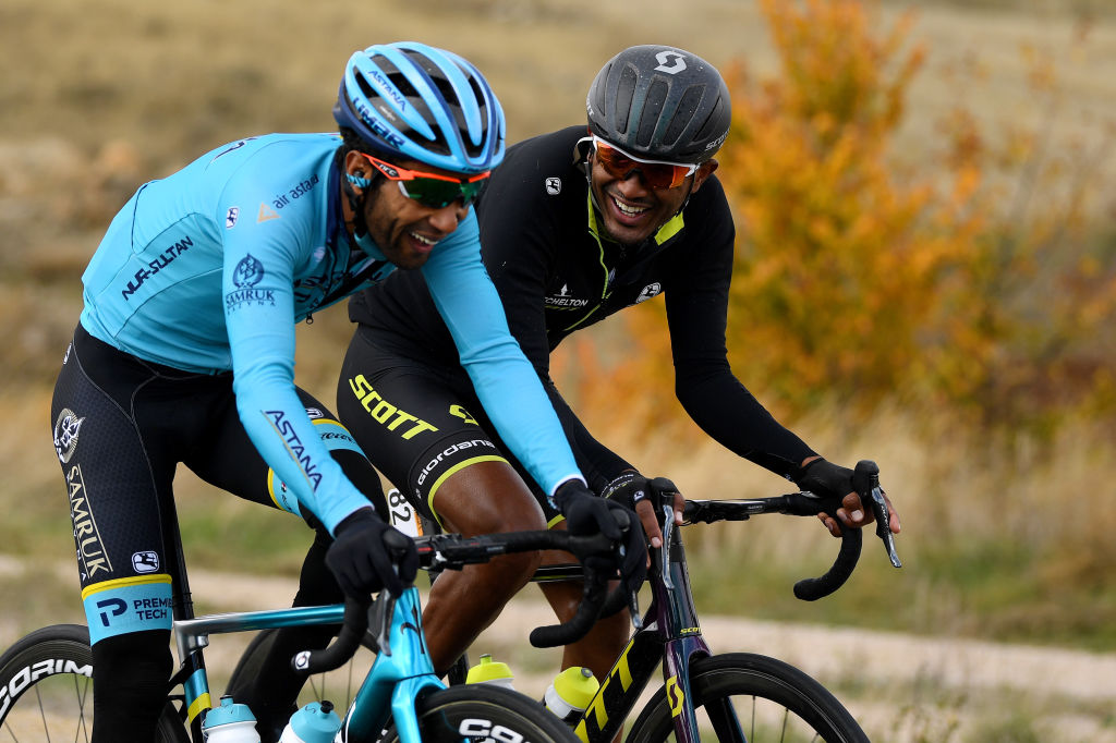 EJEADELOSCABALLEROS SPAIN OCTOBER 23 Merhawi Kudus Ghebremedhin of Eritrea and Astana Pro Team Tsgabu Gebremaryam Grmay of Ethiopia and Team Mitchelton Scott during the 75th Tour of Spain 2020 Stage 4 a 1917km stage from Garray Numancia to Ejea de los Caballeros lavuelta LaVuelta20 La Vuelta on October 23 2020 in Ejea de los Caballeros Spain Photo by David RamosGetty Images