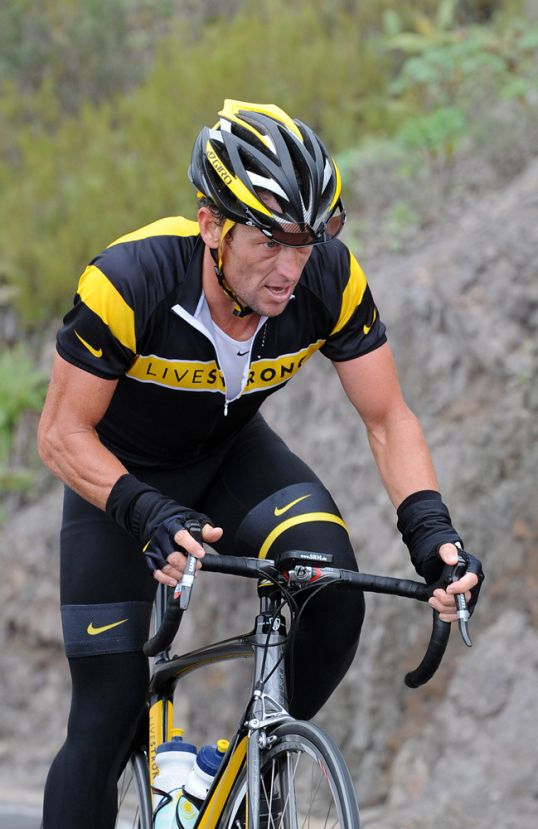 Lance Armstrong climbing at Astana's training camp in Tenerife, December 2008