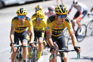 Wout van Aert leads his Jumbo-Visma teammates during stage 18 of the 2020 Tour de France