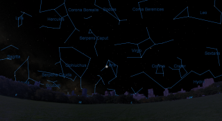 Moon appears over the constellation Libra in the NY sky