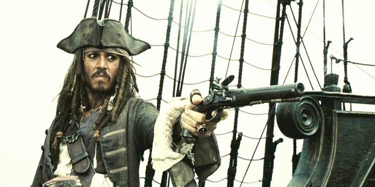 Captain Jack Sparrow pointing a gun