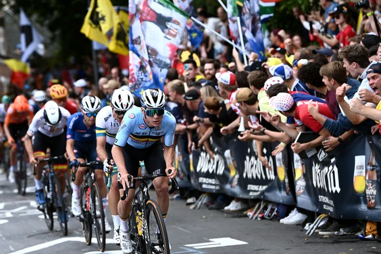 Remco Evenepoel riding hard on the front of the UCI World Championships road race in Leuven, Belgium