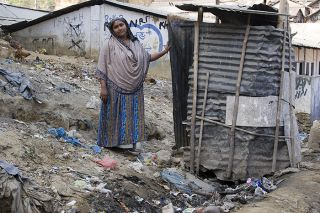 A makeshift latrine in Bangladesh.