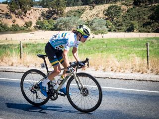 Sarah Gigante stretching out a powerful lead on stage 2 of the Santos Festival of Cycling