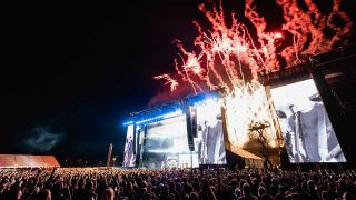 Metallica onstage at Louder Than Life with fireworks