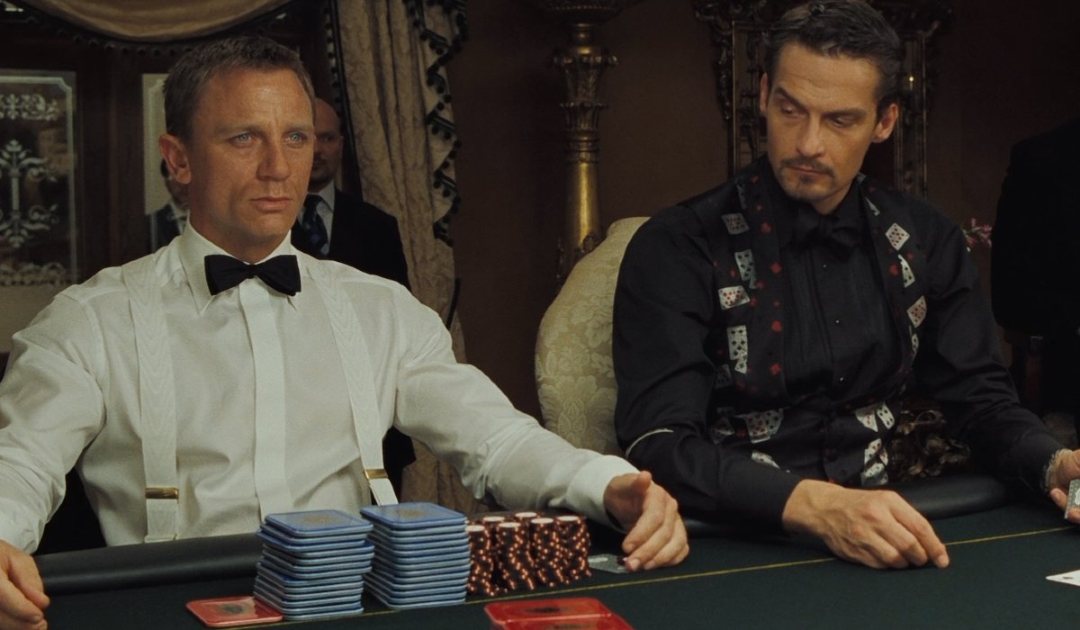 Casino Royale Bond prepares for his next hand at the card game