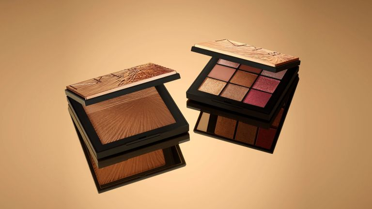 Nars Bronzer and Nars Summer Solstice Eyeshadow Palette on gold backdrop