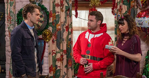 It's Christmas day at The Dingles and Aaron Dingle's mind is clearly elsewhere as he avoids questioning from Chas Dingle . Alex Mason arrives and suggests to Aaron they should spend some time apart. But Aaron convinces him to stay and kisses him in order to prove he wants him to stay around in Emmerdale.