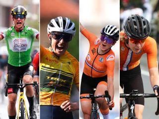 Composite image of the Dutch favourites for the 2021 World Championships - Marianne Vos, Lucinda Brand, Annemiek van Vleuten and Anna van der Breggen