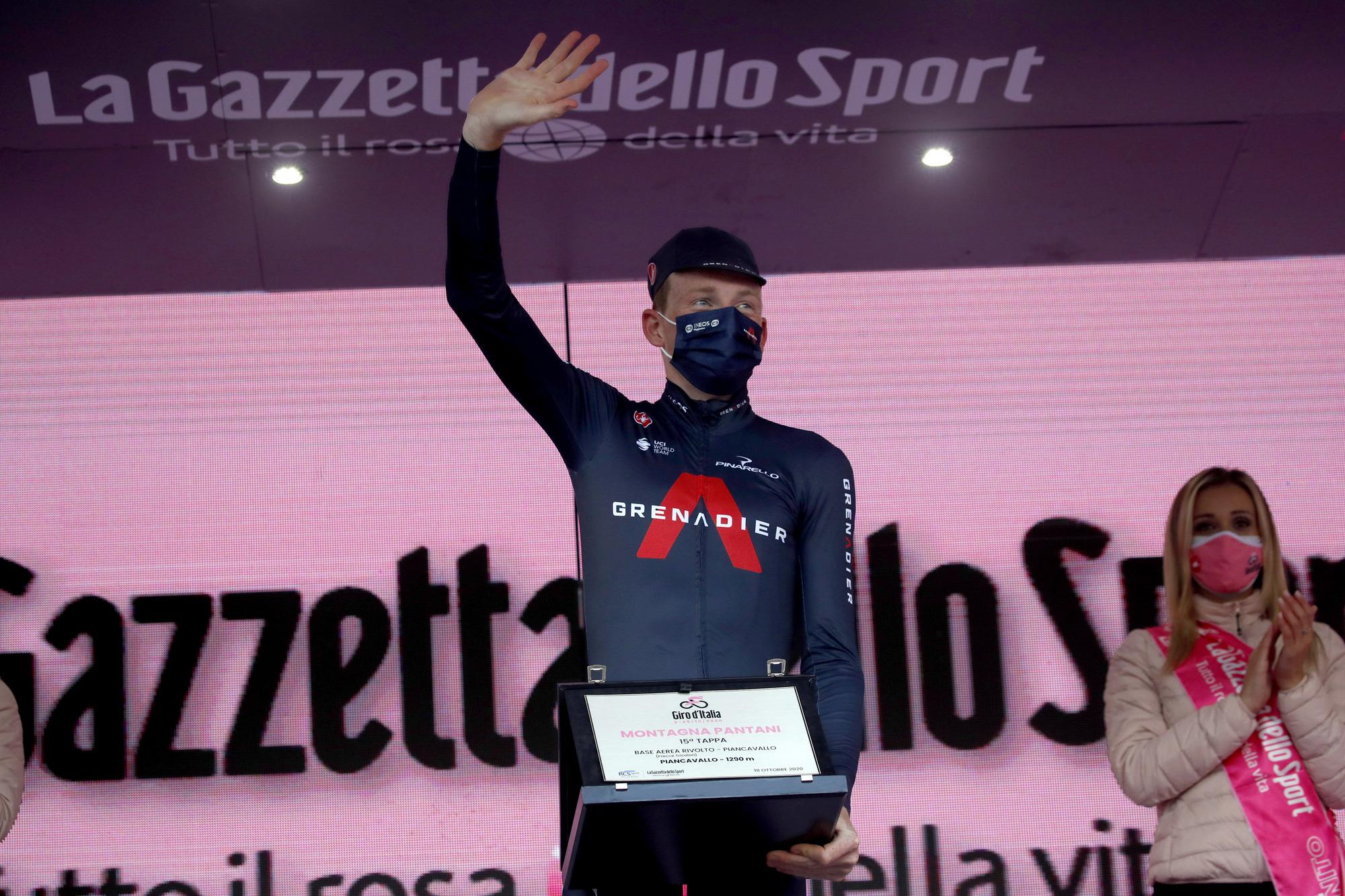 Giro dItalia 2020 103rd Edition 15th stage Base Area Rivolto Frecce Tricolori Piancavallo 185km 18102020 Tao Geoghegan Hart GBR Ineos Grenadiers photo Luca BettiniBettiniPhoto2020